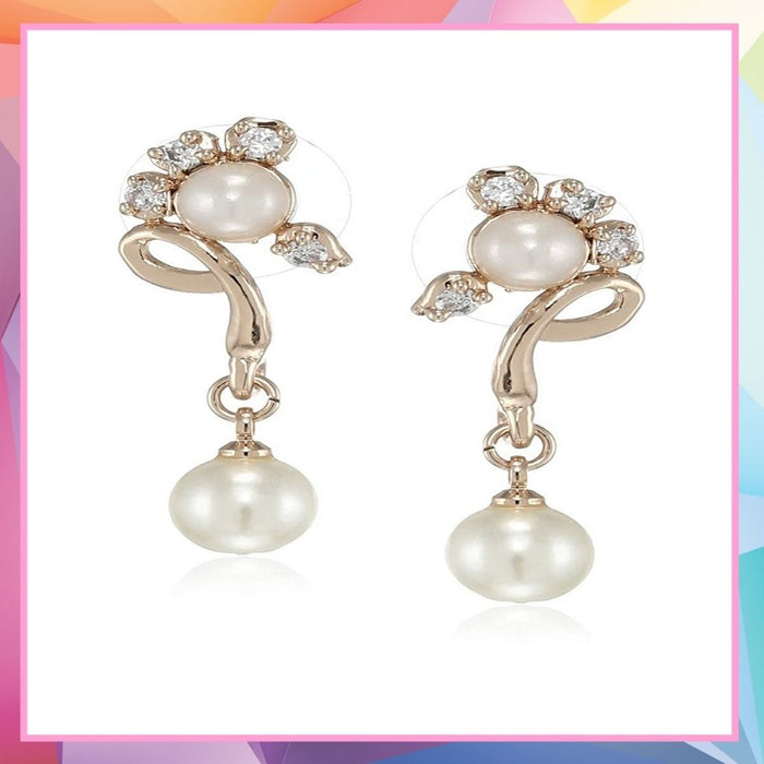 Estele  Rose Gold Plated American Diamond Cluster Pearl  Drop Earrings for women