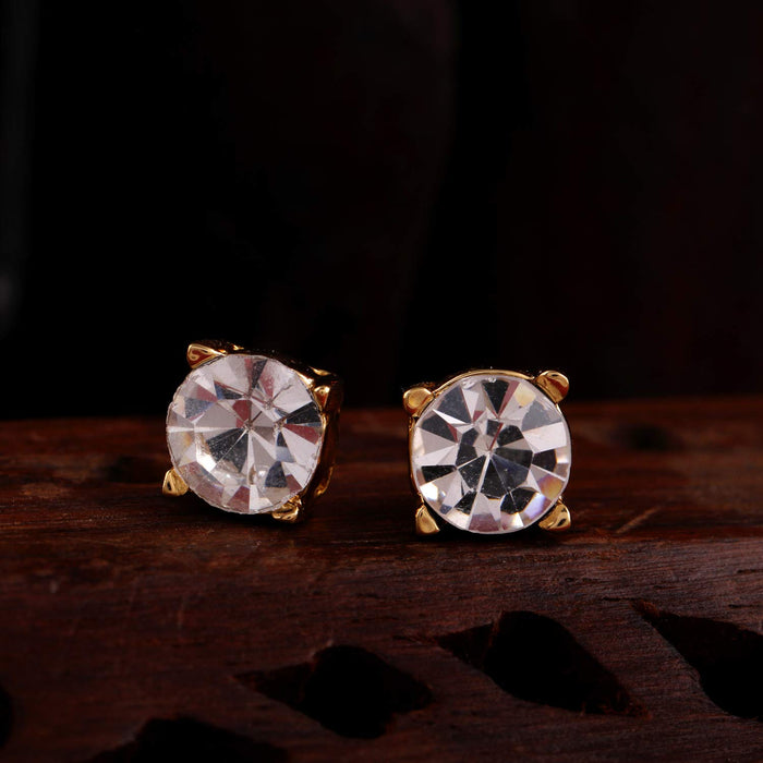 Estele 2-Tone Gold Silver Plated Brass Stud with Grey Colour Enamel and White Crystal Stone Earrings for Women