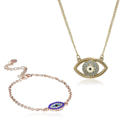 Estele - Evil Eye Pendant & Bracelet Combo Set For Girls & Women
