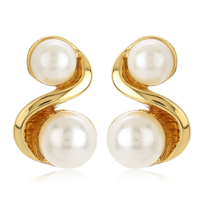 Gold Tone Plated Pearl Stud Earrings For Womens