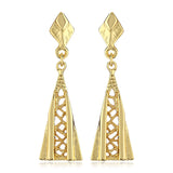 Gold Plated Long Drop Earrings for Womens