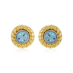 Blue Stone Round Stud Earrings
