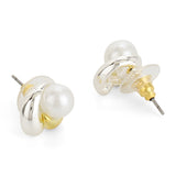 Gold Plated White Flux Pearl Stud Earrings