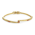 Gold Tone Plated Pink Stone Bangle Bracelet