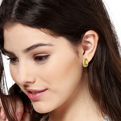 Gold Plated Round Stud Womens Earrings