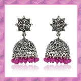 Oxidised  Pink Beads Jhumki