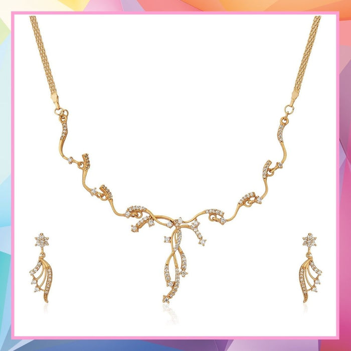 Estele 24 Kt Gold  Plated  American Diamond Wreath Chain Necklace Set for Women
