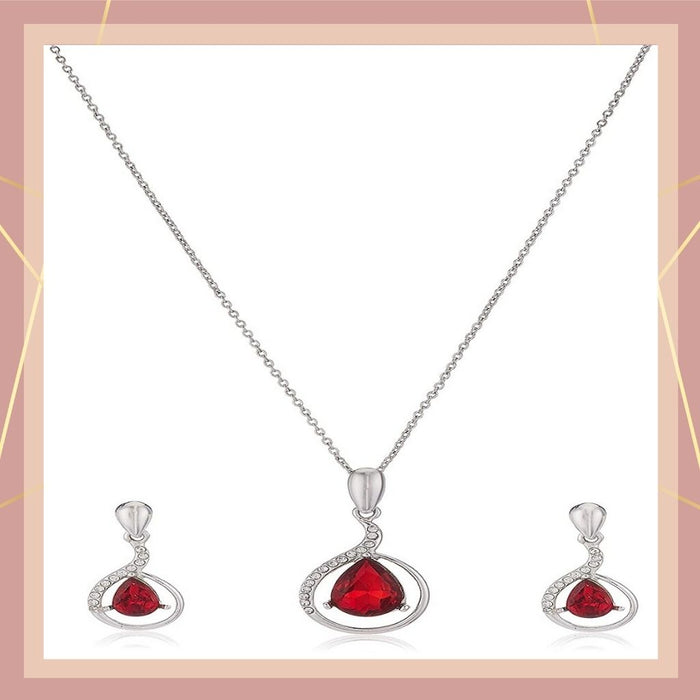 Estele - 24 KT Rhodium plated Pendant Set with Austrian Crystals Aand red stones for Women