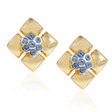 Aqua Austrian Crystal Geometric Stud Earrings