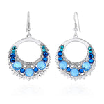 Party Wear Silver Toned Blue Crystal Dangler Earrings