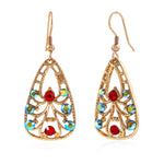 Gold Plated Multi Color Swiss Crystal Drop Earrings