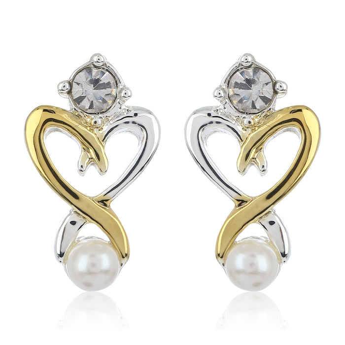 Two Plated Heart Shaped Stud Earrings