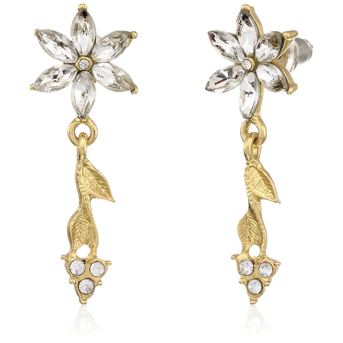 Estele Gold Plated Pink Star Dangle Earrings for women