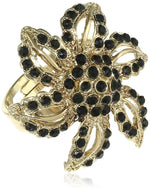 Black beads sunflower finger ring for stylish women