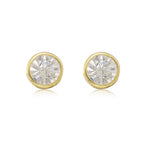 Estele 24Kt Gold Plated Round Ear Studs AD Stone Dialy Wear Stud Earrings