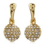 Gold Plated White Austrian Crystal Stone Round Drop Earrings