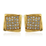 Square Shaped Stud With White Austrian Crystal Stone Earrings