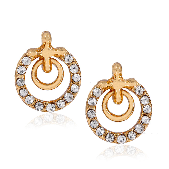 Crystal Gold Plated Queen Stud Earrings