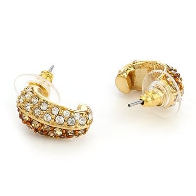 Gold Plated White Austrian Crystal Stone Stud Earrings