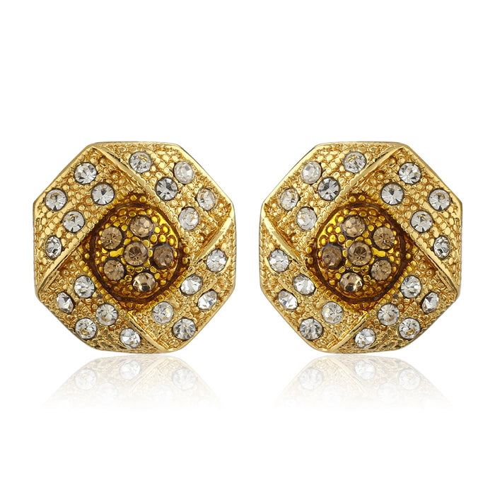 Gold Plated White Austrian Crystal Stone Round Stud Earrings For Womens