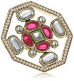 Gold plated polki white and pink kundan ethnic traditional maharani ring