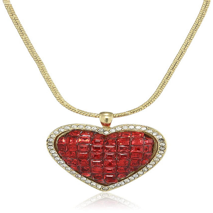 24 Kt Gold plated Heart Shaped Necklace with Fancy Red American Diamonds
