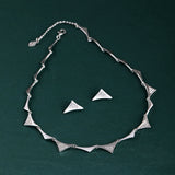 Estele Silver Plated Valentine special Triangle Necklace Set with Austrian Crystals