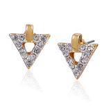 Crystal Triangle Studs Gold Plated Summer Style Earrings