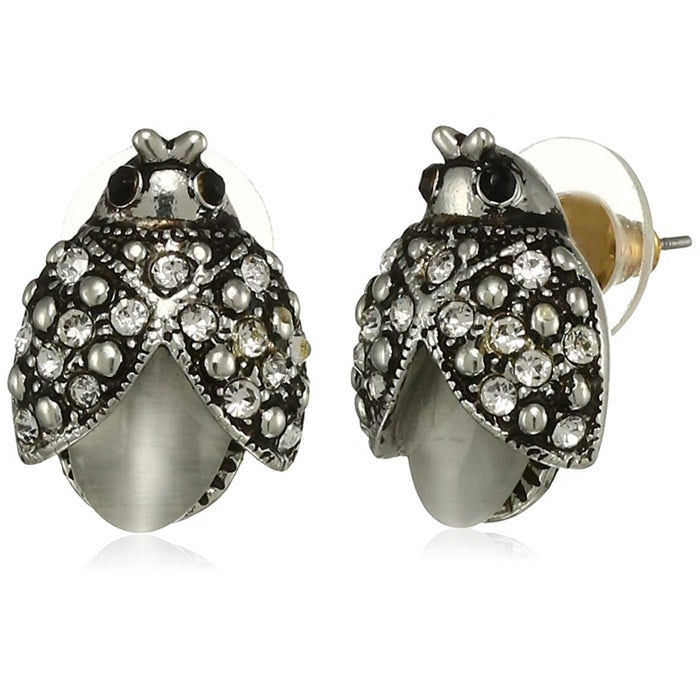 Estele Rhodium Plated Pearl Lady bug Stud Earrings for women