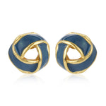 Blue Enamel Stud Earrings