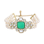 Traditional Gold tone Royal Emerald Pearl Kundan Bracelet