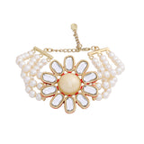 Traditional Gold tone Pearl Flower Kundan Bracelet