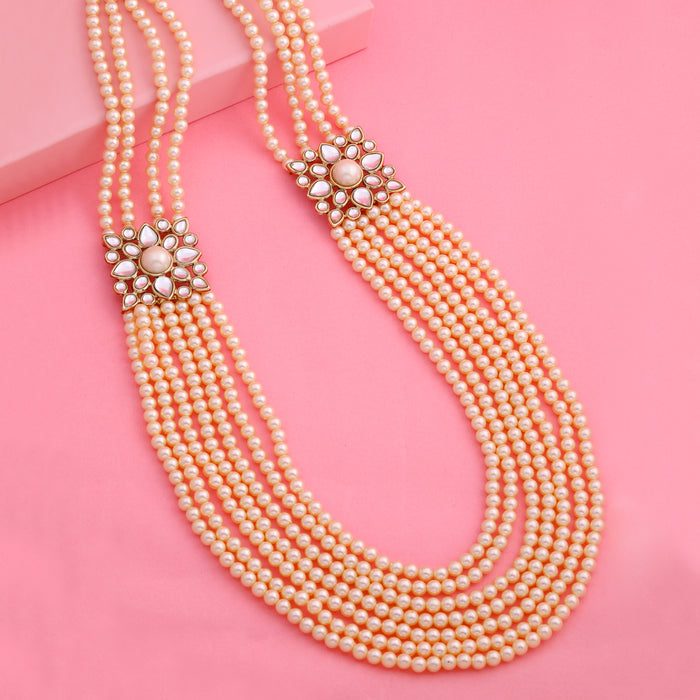 Estele Gold Tone Royal 7 string Pearl Necklace
