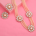 Traditional Gold tone Three Daisy Flower Kundan Pearl Necklace set
