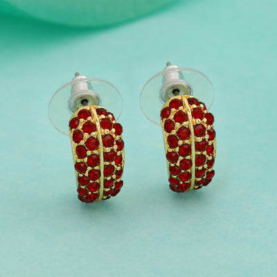 24Kt Gold Plated Candy Earring with Red Crystals