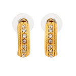 Candy Crystal Collection Gold Plated White Crystal Stud Earrings