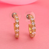 24Kt Gold Plated White CZ Hoop Earrings