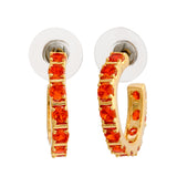24Kt Gold Plated Orange CZ Hoop Earrings