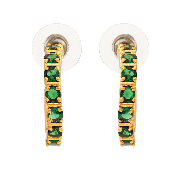 24 Kt Gold Plated Emerald CZ Hoop Earrings