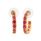 24Kt Gold Plated Ruby CZ Hoop Earrings