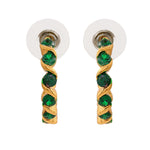 24Kt Gold Plated Green CZ Hoop Earrings