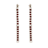 Red Crystal stone Rhodium Plated Stud candy Earrings