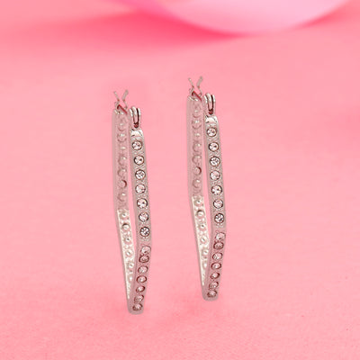 White Crystal stone Rhodium Plated Stud candy Earrings