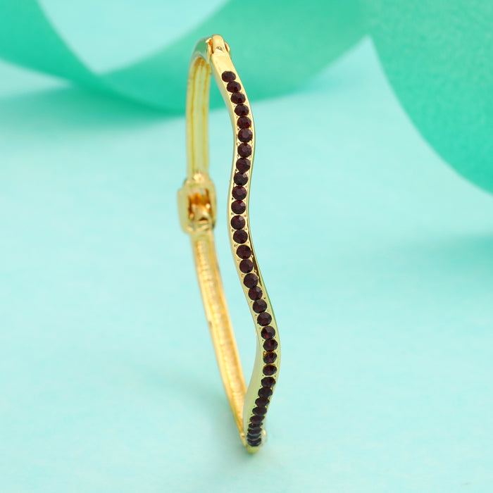 Gold plated Candy Bracelet with Ruby colour American Diamonds Bracelet