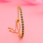 24Kt Gold Plated Candy Collection with Green American Diamonds Bracelet