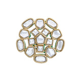 Gold plated polki white kundan ethnic traditional maharani ring