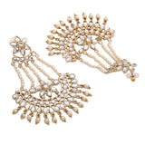 Traditional Gold Plated Fancy Dangler Chandbali Pearl Kundan Earrings