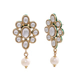Trendy Fancy Party Wear Gold Plated Pearl Drop Stud Earrings