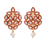 Mirror Kundan Red enamel Earrings