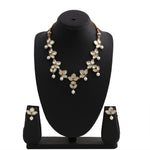 Traditional Gold tone Kundan Pearl Lily Necklace